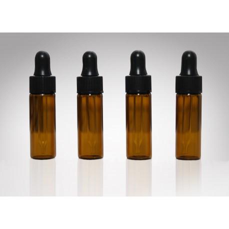 Flacon ambré avec pipette compte-gouttes, 1 DRAM